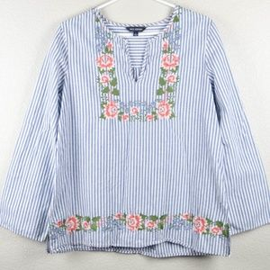 Max Edition L Blue Striped Floral Embroider Blouse